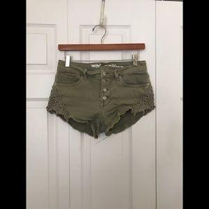 Olive Denim Shorts